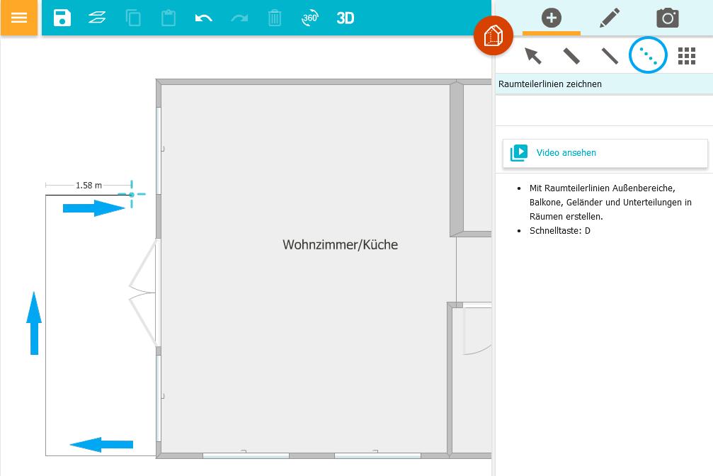 Balkon Oder Terrasse Mit Gelander Zeichnen App Roomsketcher Hilfe