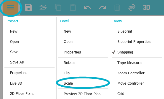 Scale the walls of a project app roomsketcher help center click the yellow menu button and then under level click scale malvernweather Choice Image