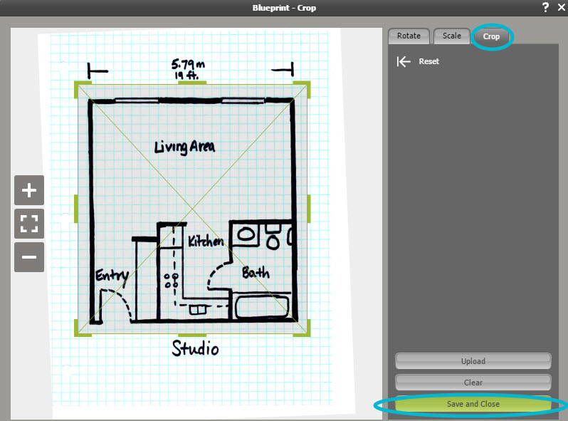 Draw a floor plan from a blueprint web roomsketcher help center press and drag the green lines close to the edges of the floor plan only the parts inside the green lines will be visible when you draw the floor plan malvernweather Image collections