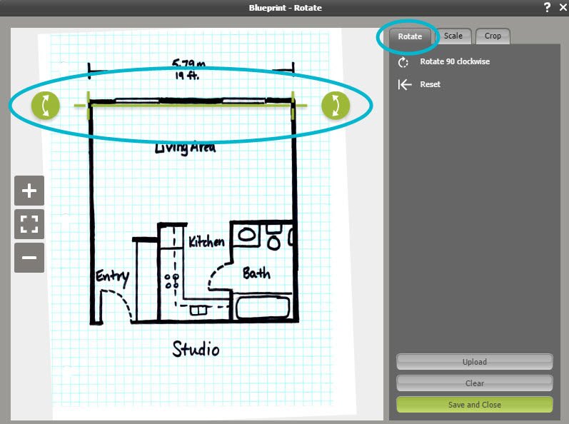 Draw a floor plan from a blueprint web roomsketcher help center your blueprint automatically straightens so that the tool is horizontal malvernweather Choice Image