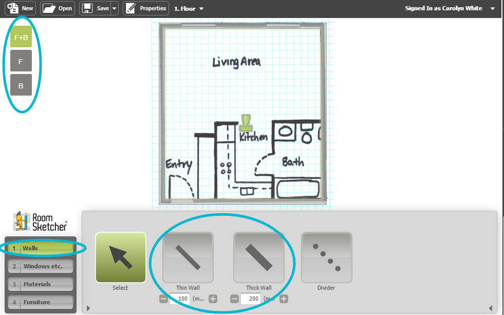 Draw a floor plan from a blueprint web roomsketcher help center complete the design malvernweather Images