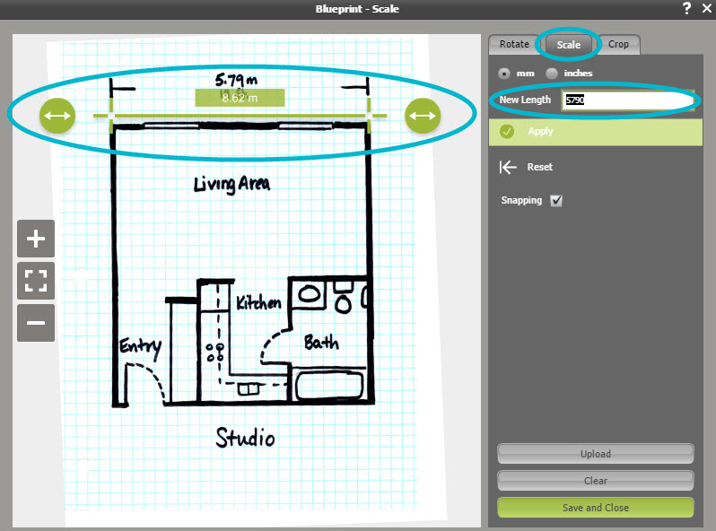 Draw a floor plan from a blueprint web roomsketcher help center type the known length in the new length field on the right malvernweather Gallery