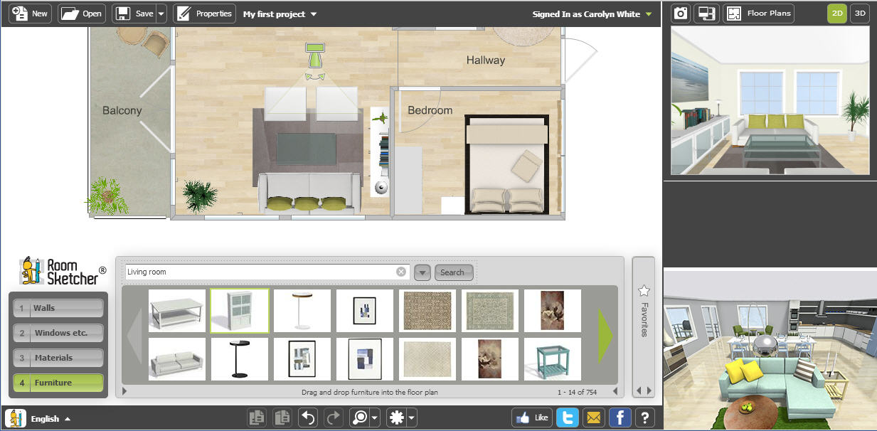 Start With A Project Open In RoomSketcher Home Designer.