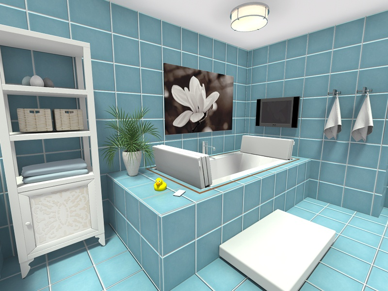 Draw A Bathroom And Add Tiles To Floor And Walls