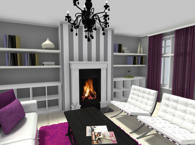 Create built in bookshelves web roomsketcher help center - Feature wall ideas living room with fireplace ...