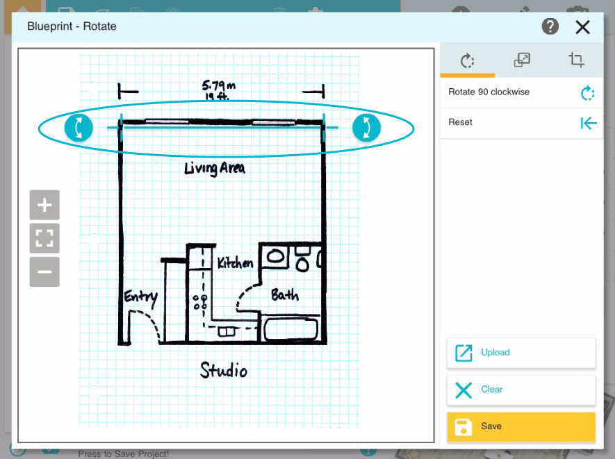 Draw a floor plan from a blueprint app roomsketcher help center now press and drag the blue arrows on the other end of the tool and stretch it so that it is parallel to the wall your blueprint automatically straightens malvernweather Choice Image